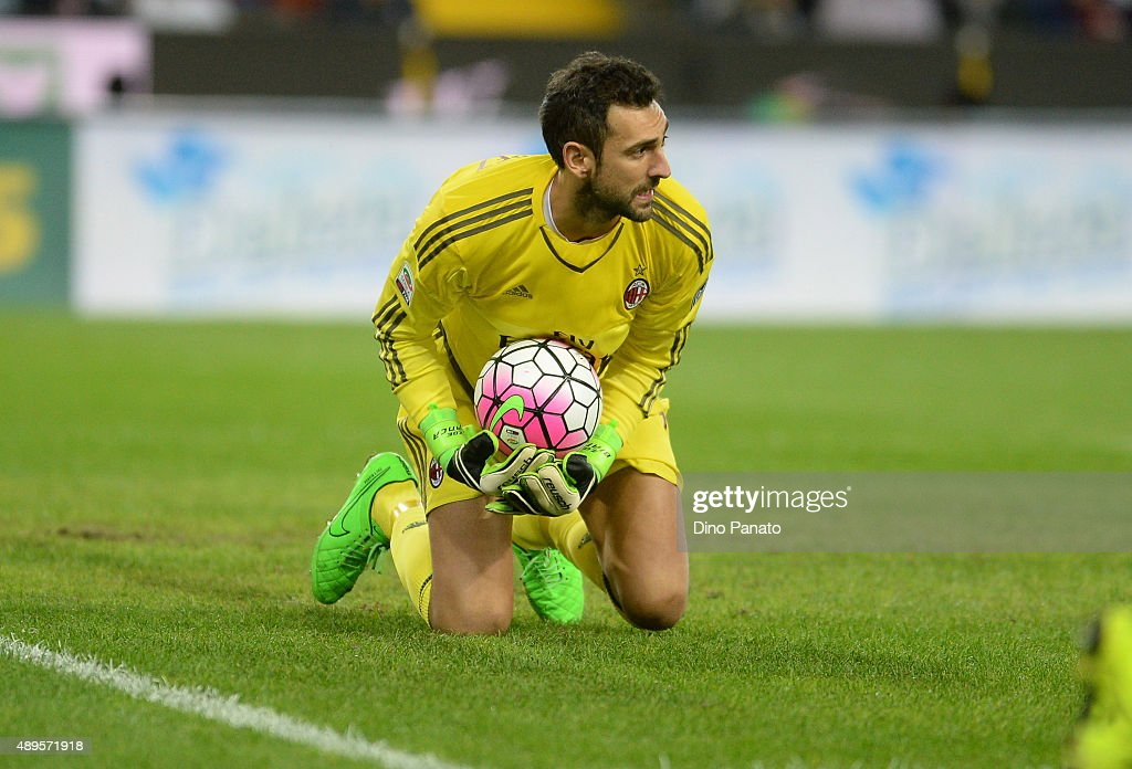 Diego Lopez goalkeeper of AC Milan during the Serie A match between Udinese Calcio and AC Milan at Stadio Friuli on September 22, 2015 in Udine, Italy.