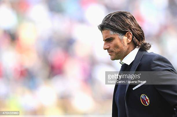 Diego Lopez head coach of Bologna FC looks on during the Serie B match between Bologna FC and AC Spezia at Stadio Renato Dall'Ara on April 18 2015 in...