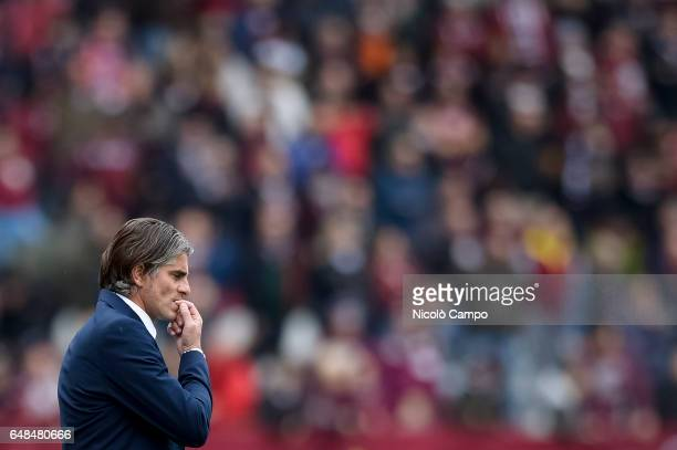 Diego Lopez head coach of US Citta di Palermo is disappointed during the Serie A football match between Torino FC and US Citta di Palermo Torino FC...