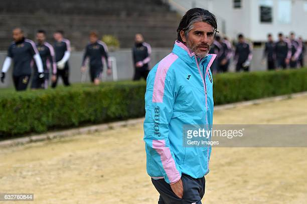 Diego Lopez leads his first training as new head coach of US Citta' di Palermo at Tenente Carmelo Onorato Sports Center on January 26 2017 in Palermo...