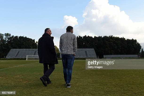 Diego Lopez new head coach of US Citta' di Palermo arrives with Sport Director Nicola Salerno at Tenente Carmelo Onorato Sports Center on January 26...