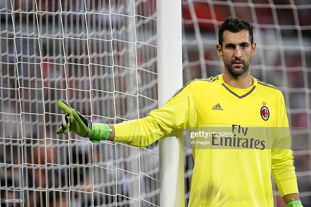 Diego Lopez of AC Milan during the AUDI Cup match between FC Bayern Munich and AC Milan on August 4, 2015 at the Allianz Arena in Munich, Germany