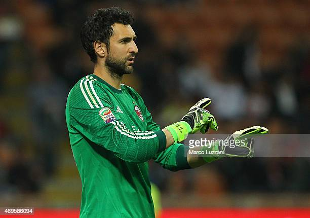 Diego Lopez of AC Milan gestures during the Serie A match between AC Milan and UC Sampdoria at Stadio Giuseppe Meazza on April 12 2015 in Milan Italy