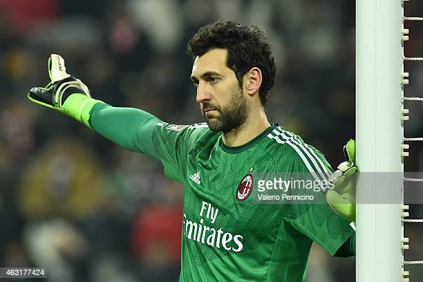 Diego Lopez of AC Milan gestures during the Serie A match between Juventus FC and AC Milan at Juventus Arena on February 7 2015 in Turin Italy
