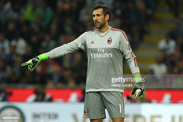 Diego Lopez of AC Milan gestures during the Serie A match between FC Internazionale Milano and AC Milan at Stadio Giuseppe Meazza on September 13...