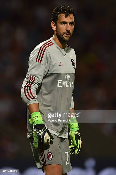 Diego Lopez of AC Milan looks on during the preseason friendly match between Olympique Lyonnais and AC MIlan at Gerland Stadium on July 18 2015 in...