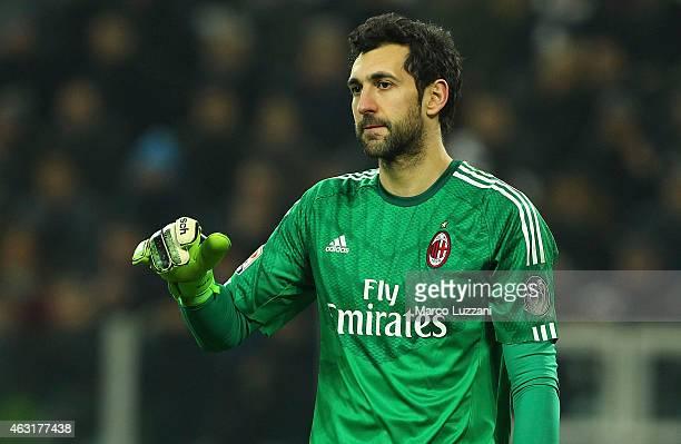 Diego Lopez of AC Milan looks on during the Serie A match between Juventus FC and AC Milan at Juventus Arena on February 7 2015 in Turin Italy