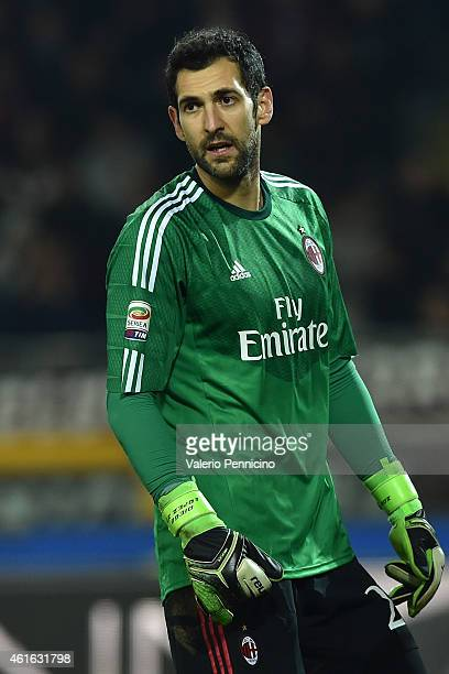 Diego Lopez of AC Milan looks on during the Serire A match between Torino FC and AC Milan at Stadio Olimpico di Torino on January 10 2015 in Turin...
