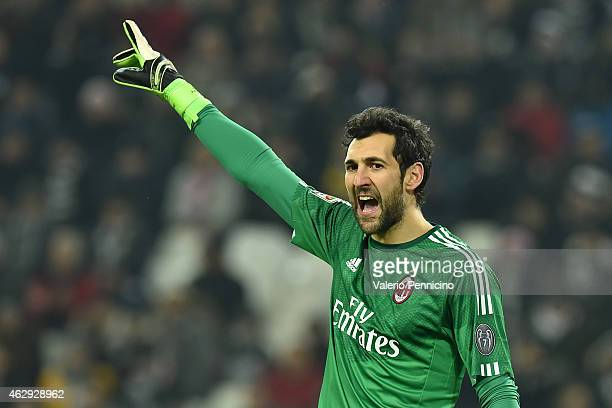 Diego Lopez of AC Milan reacts during the Serie A match between Juventus FC and AC Milan at Juventus Arena on February 7 2015 in Turin Italy