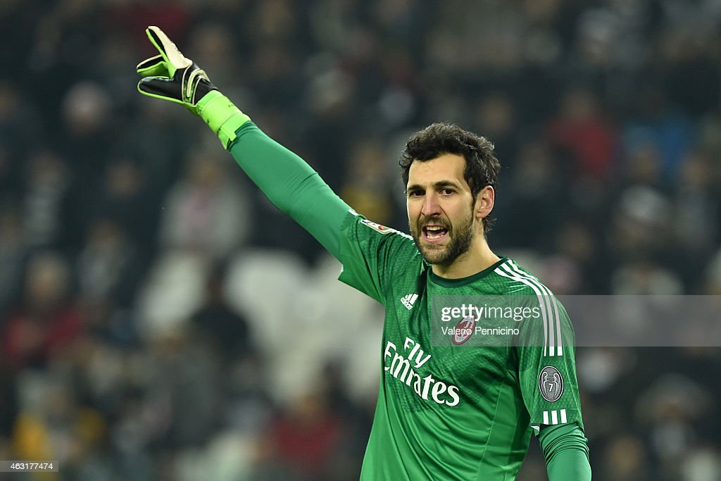 Diego Lopez of AC Milan reacts during the Serie A match between Juventus FC and AC Milan at Juventus Arena on February 7, 2015 in Turin, Italy.