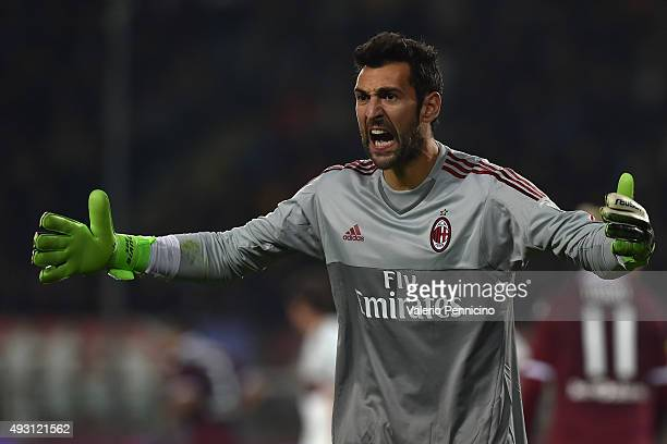 Diego Lopez of AC Milan reacts during the Serie A match between Torino FC and AC Milan at Stadio Olimpico di Torino on October 17 2015 in Turin Italy
