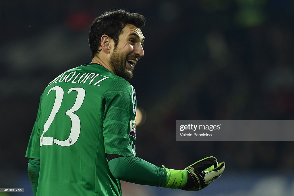 Diego Lopez of AC Milan reacts during the Serire A match between Torino FC and AC Milan at Stadio Olimpico di Torino on January 10, 2015 in Turin, Italy.