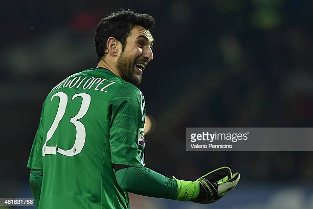 Diego Lopez of AC Milan reacts during the Serire A match between Torino FC and AC Milan at Stadio Olimpico di Torino on January 10 2015 in Turin Italy