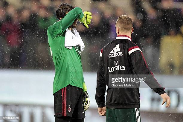 Diego Lopez of AC Milan shows his dejection during the Serie A match between ACF Fiorentina and AC Milan at Stadio Artemio Franchi on March 16 2015...