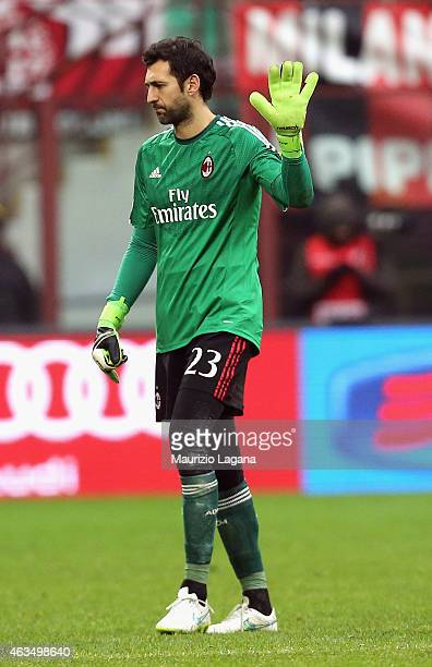 Diego Lopez of Milan during the Serie A match between AC Milan and Empoli FC at Stadio Giuseppe Meazza on February 15 2015 in Milan Italy