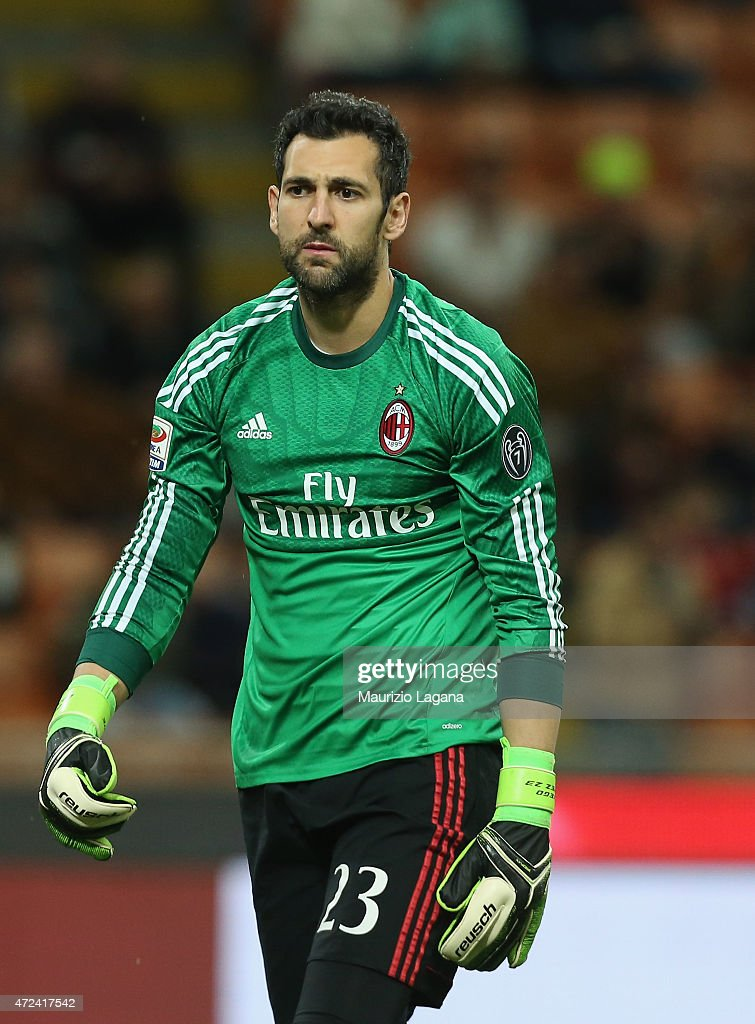 Diego Lopez of Milan during the Serie A match between AC Milan and Genoa CFC at Stadio Giuseppe Meazza on April 29, 2015 in Milan, Italy.