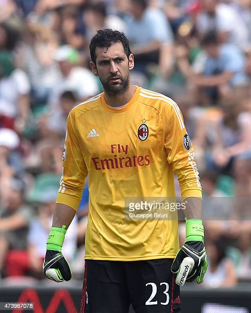 Diego Lopez of Milan in action during the Serie A match between US Sassuolo Calcio and AC Milan on May 17 2015 in Reggio nell'Emilia Italy