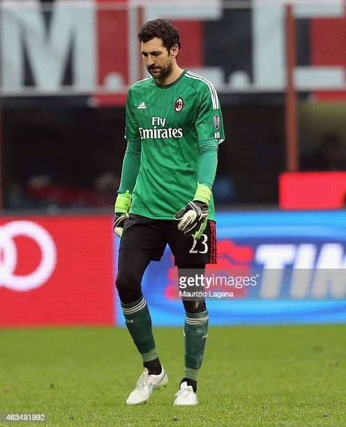 Diego Lopez of Milan shows his dejection during the Serie A match between AC Milan and Empoli FC at Stadio Giuseppe Meazza on February 15 2015 in...