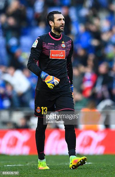 Diego Lopez of RCD Espanyol looks on during the La Liga match between RCD Espanyol and Sevilla FC at CornellaEl Prat stadium on January 29 2017 in...