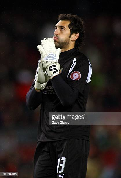 Diego Lopez of Villarreal reacts during the La Liga match between Barcelona and Villarreal at the Camp Nou stadium on March 9 2008 in Barcelona Spain