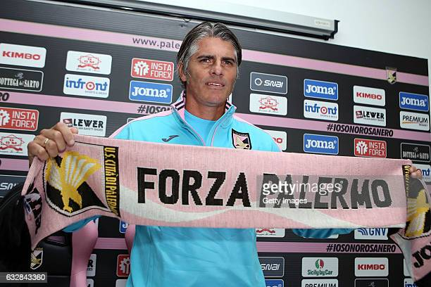 Diego Lopez poses during his presentation as new head coach of US Citta di Palermo at Tenente Carmelo Onorato Sports Center on January 27 2017 in...