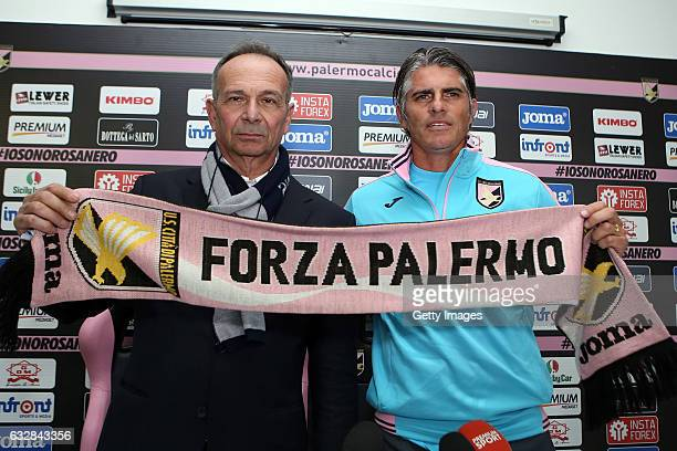 Diego Lopez poses with Sport Manager Nicola Salerno during his presentation as new head coach of US Citta di Palermo at Tenente Carmelo Onorato...