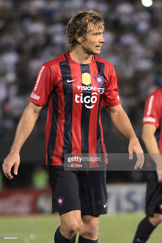 Diego Lugano of Cerro Porteño looks on during a match between Cerro Porteño and Olimpia as part of 17th round of APF Torneo Apertura 2015 at...