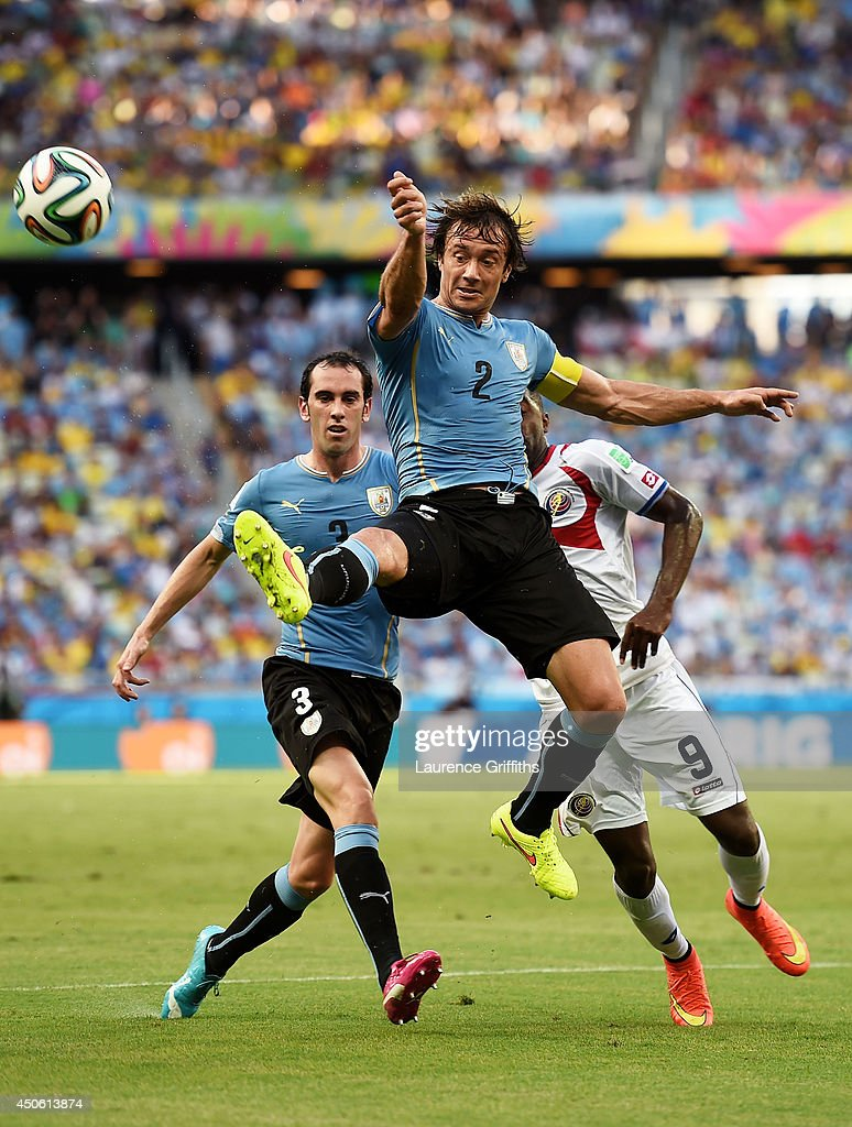 Diego Lugano of Uruguay controls the ball during the 2014 FIFA World Cup Brazil Group D match between Uruguay and Costa Rica at Castelao on June 14...