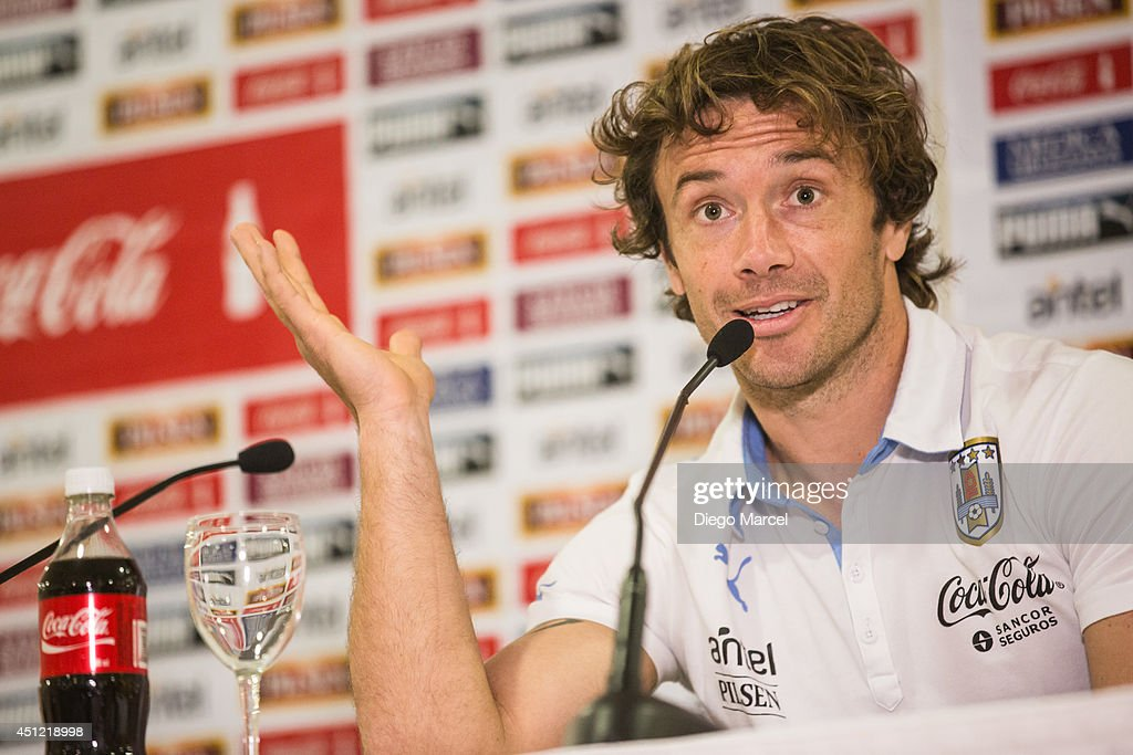 Diego Lugano of Uruguay gestures during a press conference at the Sehrs Natal Grand Hotel in Natal on June 25 2014 in Natal Brazil
