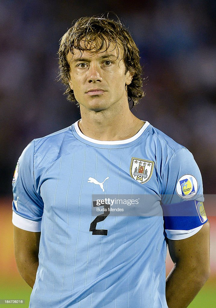 Diego Lugano of Uruguay looks on during a match between Uruguay and Argentina as part of the 18th round of the South American Qualifiers for the FIFA...