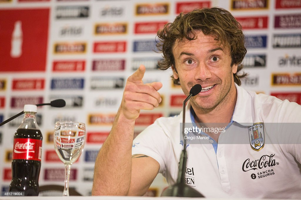 Diego Lugano of Uruguay speaks during a press conference at the Sehrs Natal Grand Hotel in Natal on June 25 2014 in Natal Brazil