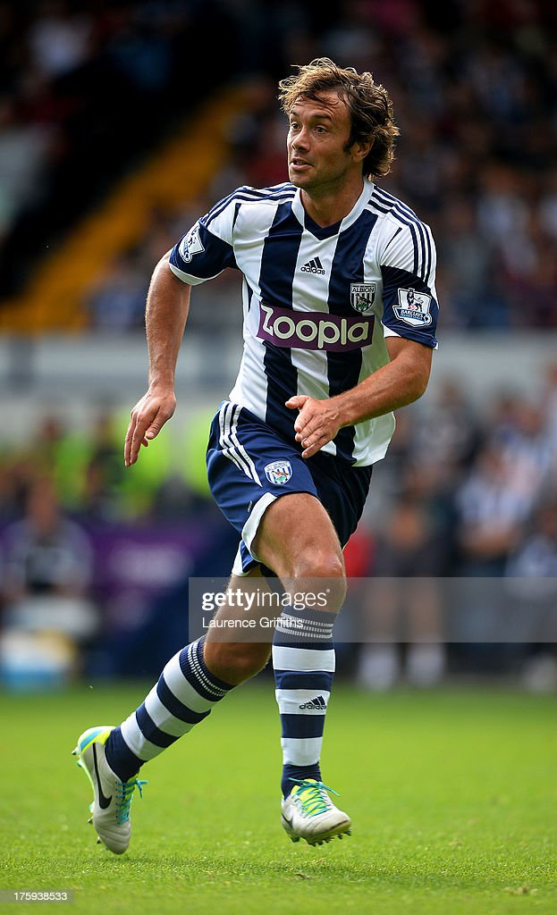 Diego Lugano of West Bormwich Albion in action during a Pre Season Friendly between West Bromwich Albion and Bologna at The Hawthorns on August 10...