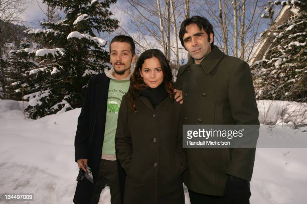 Diego Luna Alice Braga and Carlos Bolado during 2006 Sundance Film Festival 'Solo Dios Sabe' Outdoor Portraits in Park City Utah United States