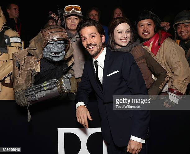 Diego Luna and fans take a picture at the premiere of Walt Disney Pictures And Lucasfilm's 'Rogue One A Star Wars Story' at the Pantages Theatre on...