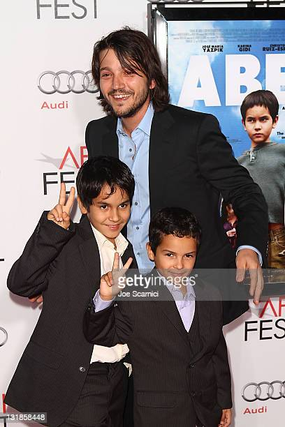 Diego Luna and Gerardo RuizEsparza and Christopher RuizEsparza arrive to the AFI Fest 2010 Screening Of 'Abel' at Grauman's Chinese Theatre on...