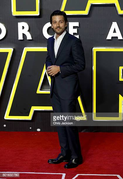 Diego Luna attends the European Premiere of 'Star Wars The Force Awakens' at Leicester Square on December 16 2015 in London England