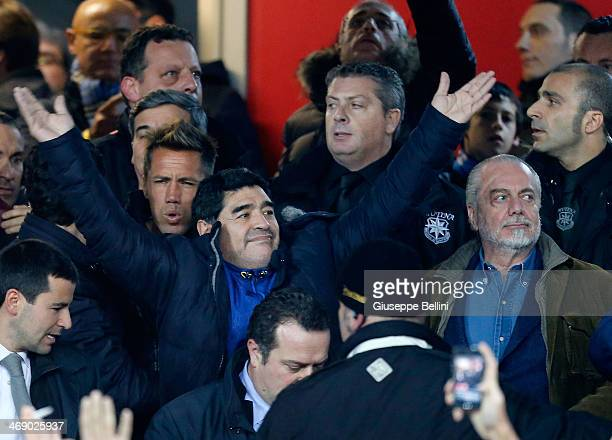 Diego Maradona and Aurelio De Laurentis President of Napoli cheer during the TIM Cup match between SSC Napoli and AS Roma at Stadio San Paolo on...
