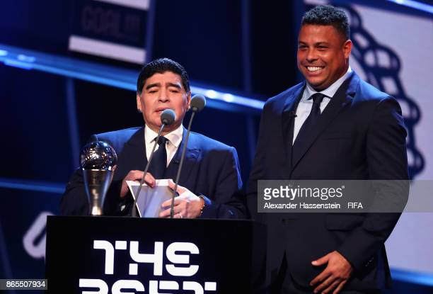 Diego Maradona and Ronaldo presents The Best FIFA Men's Player during The Best FIFA Football Awards at The London Palladium on October 23 2017 in...