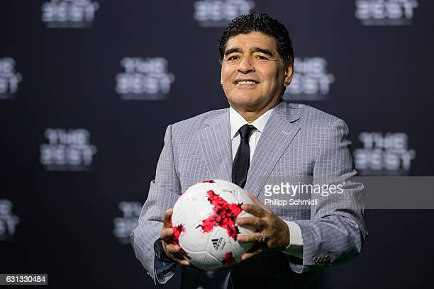 Diego Maradona arrives for The Best FIFA Football Awards 2016 on January 9 2017 in Zurich Switzerland