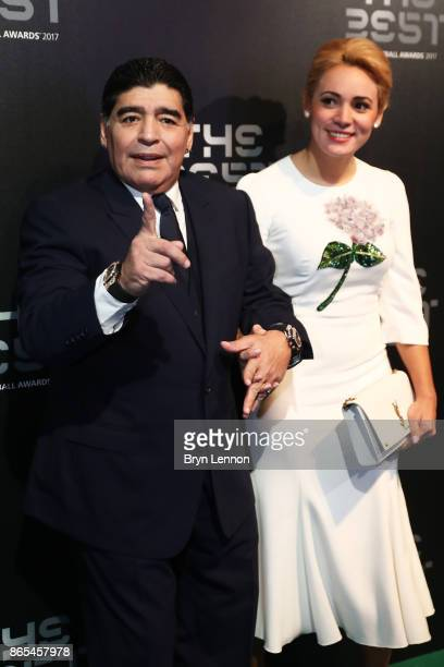 Diego Maradona arrives for The Best FIFA Football Awards Green Carpet Arrivals on October 23 2017 in London England