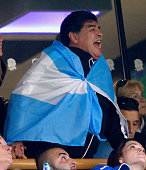 Diego Maradona attends the 2015 Rugby World Cup Semi Final match between Argentina and Australia at Twickenham Stadium on October 25 2015 in London...