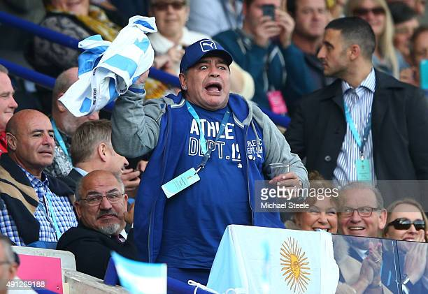 Diego Maradona celebrates Argentina's first try during the 2015 Rugby World Cup Pool C match between Argentina and Tonga at Leicester City Stadium on...