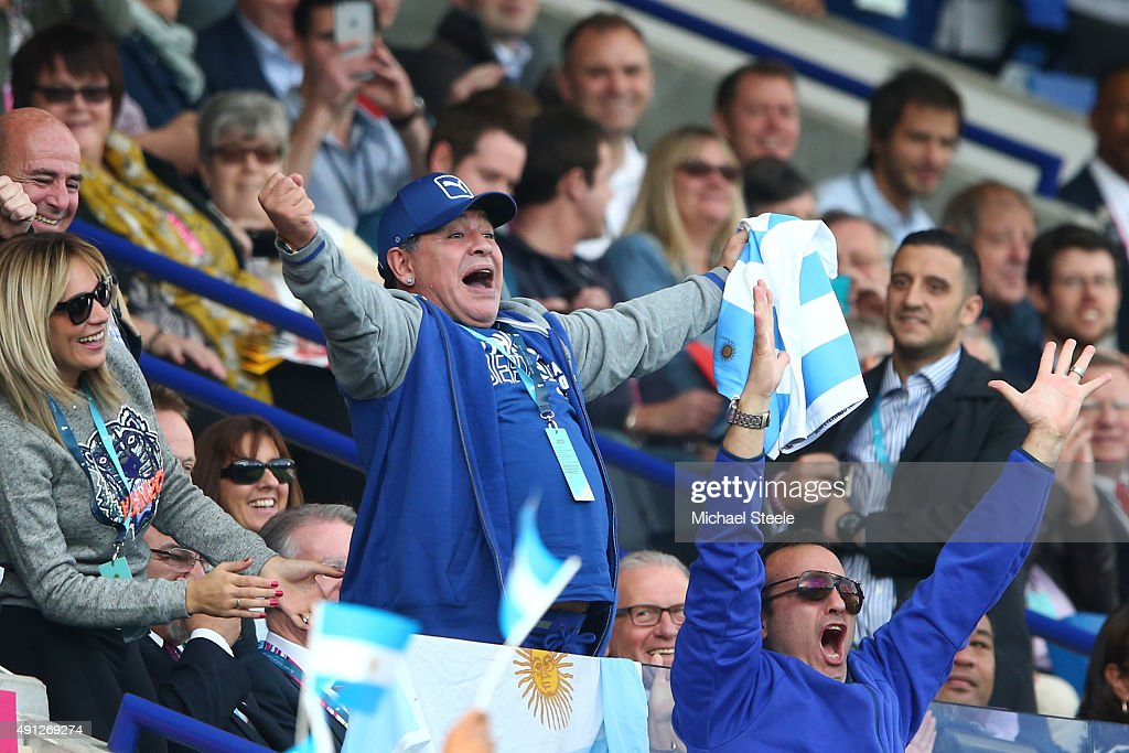 <a gi-track='captionPersonalityLinkClicked' href=/galleries/search?phrase=Diego+Maradona&family=editorial&specificpeople=210535 ng-click='$event.stopPropagation()'>Diego Maradona</a> celebrates Argentina's second try during the 2015 Rugby World Cup Pool C match between Argentina and Tonga at Leicester City Stadium on October 4, 2015 in Leicester, United Kingdom.