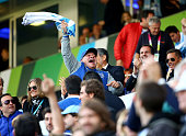 Diego Maradona celebrates Argentina's victory at the final whistle during the 2015 Rugby World Cup Pool C match between Argentina and Tonga at...