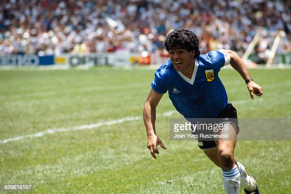 Diego Maradona from Argentina celebrates after scoring his second goal against England in a quarterfinal match of the 1986 FIFA World Cup