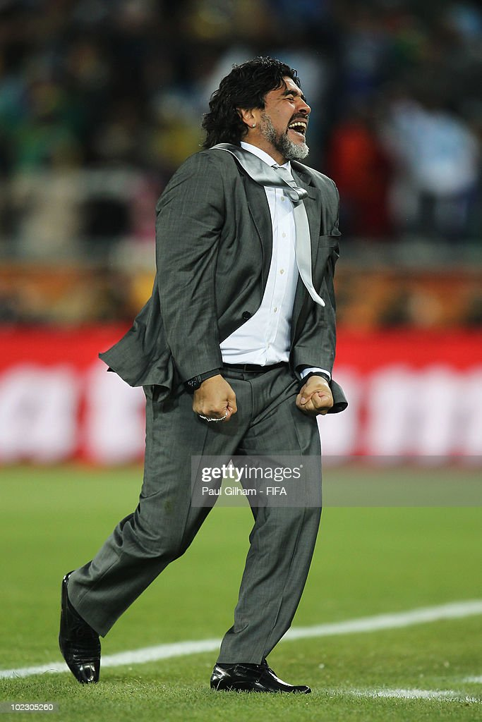 Diego Maradona head coach of Argentina celebrates a goal during the 2010 FIFA World Cup South Africa Group B match between Greece and Argentina at Peter Mokaba Stadium on June 22, 2010 in Polokwane, South Africa.