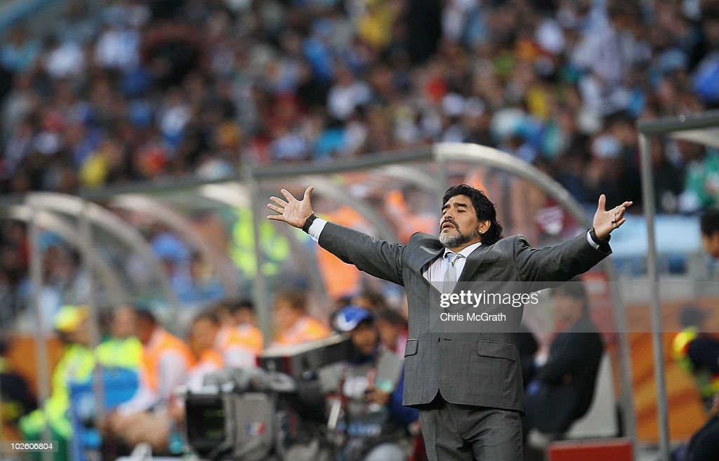 <a gi-track='captionPersonalityLinkClicked' href=/galleries/search?phrase=Diego+Maradona&family=editorial&specificpeople=210535 ng-click='$event.stopPropagation()'>Diego Maradona</a> head coach of Argentina gestures in frustration on the touchline during the 2010 FIFA World Cup South Africa Quarter Final match between Argentina and Germany at Green Point Stadium on July 3, 2010 in Cape Town, South Africa.