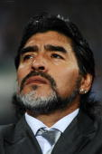 Diego Maradona head coach of Argentina looks thoughtful ahead of the 2010 FIFA World Cup South Africa Round of Sixteen match between Argentina and...