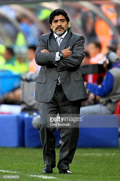 Diego Maradona head coach of Argentina looks thoughtful on the touchline during the 2010 FIFA World Cup South Africa Quarter Final match between...