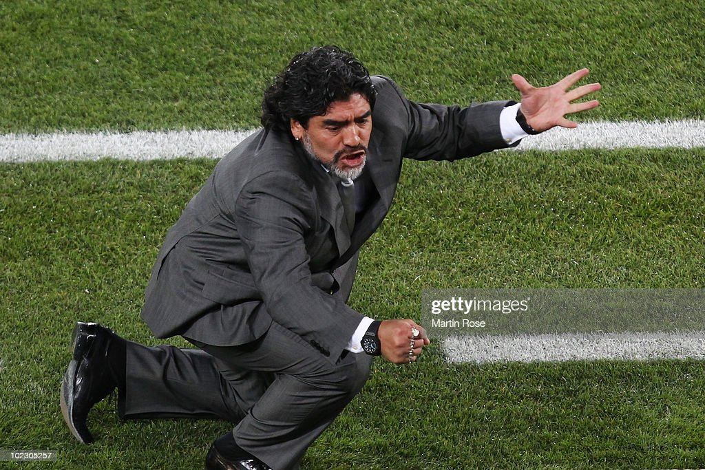 <a gi-track='captionPersonalityLinkClicked' href=/galleries/search?phrase=Diego+Maradona&family=editorial&specificpeople=210535 ng-click='$event.stopPropagation()'>Diego Maradona</a> head coach of Argentina reacts during the 2010 FIFA World Cup South Africa Group B match between Greece and Argentina at Peter Mokaba Stadium on June 22, 2010 in Polokwane, South Africa.